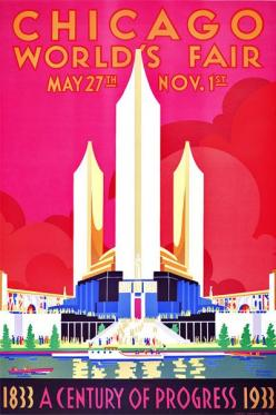 "The Chicago World's Fair Century of Progress Exposition of 1933 was held to celebrate the city's centennial and was built around a theme of technological innovation. The fair's motto was: ""Science Finds, Industry Applies, Man Conforms.&#34"
