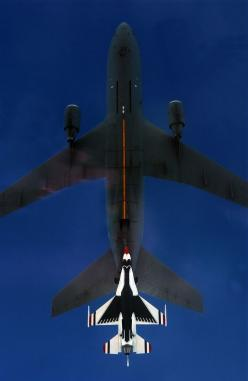 The coolest picture I've ever seen C-117 & Thunderbird (F-16) lining up for refueling: Airforce, Coolest Picture, Air Force, Airplane, Aircraft, Planes, Photo, Fighter Jets