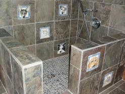 "The custom dog tiles are a little over the top, but the low profile dog shower is right up my alley for the basement of our ""dream home""...: Idea, Dogs, Dog Showers, Dream, Pet, Puppy, House, Animal"