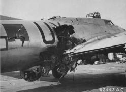 The flak hit on B-17G 'Sky Monster' on 13 September 1944 blew the radio operator out of the aircraft and killed the waist gunner and ball turret gunner.: Wwii Airplane, B 17, B17, Aircraft, Flying Fortress, Vintage Airplanes, Military Vehicles, Ww2 Airpla