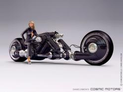 The giant all black Mk. II No.6 with a promotional human photo model. This bike is designed for large non-human droids.: Motorcycles, Cosmic Motors, Daniel Simon, Concept Motorcycle, Bikes, Cars, Vehicle, Daniel Simon