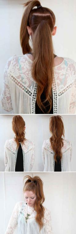 The Illusional Crazy Long Mane Ponytail and 23 Five-Minute Hairstyles For Busy Mornings: Pony Tail, Hairstyles, Hair Styles, Long Ponytail, Five Minute Hairstyle
