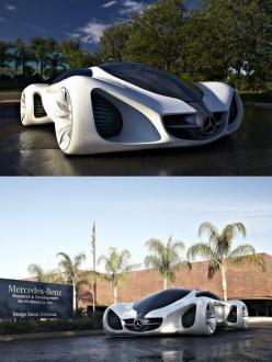 The New Eco-Friendly Mercedes BIOME sports car. Apparently, this design enjoys a combination of inspiration from nature and the materials are all organic. The exhaust breathes oxygen and if the body was thrown for scrap then it could be recycled into buil