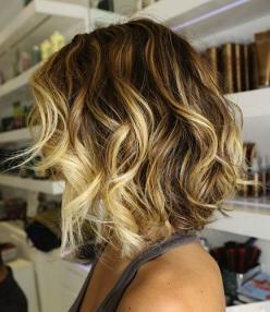 "The Ombre technique  is not only for the long haired clients.  You can also achieve a ""melted"" look with a mid length hair style  (keep in mind, this color technique is best suited for wavy and curly styles. --in need of an hair color upgrade!: Sh"