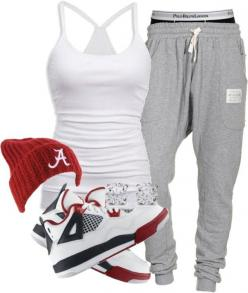The outfit is cute for practice, I would probably change the shoes though. The pants!! <3: Sweats Outfit, Dope Swag Outfit, Jordan Outfit, Style, Jordan Shoe, Lazy Sweatpants Outfit, Jordans Outfit, Shoes Jordan