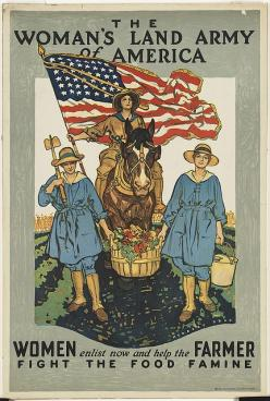 The woman's land army of America. Women enlist now and help the farmer fight the food famine: Women'S Land Army, Farmers, America, Women Enlist, Food Famine, Public Libraries, Woman S Land, Photo, Farmer Fight