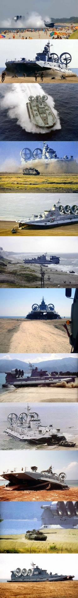 The Zubr-class is a class of air-cushioned landing craft of Soviet design. This class of military hovercraft is, as of 2012, the world's largest hovercraft. It is designed to sealift landing assault units (such as marines or tanks) from equipped/non-equip