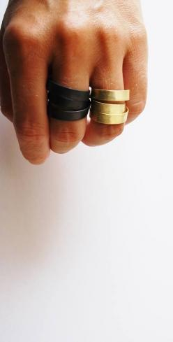These wide bands are edgy, but cool! Check out some of our custom rings here: http://www.custommade.com/search/?q=rings: Jewellerymonthly Lovejewellery, Black Gold Rings, Black Accessories, Black Rings, Black Gold Jewelry, Accessories Rings, Metal Jewelry