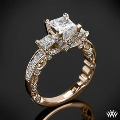 This beautiful 3 Stone Engagement Ring is from the Verragio Paradiso Collection. It features a Lumino Set for both the center and side diamonds and holds 1.00ctw of both Round Brilliant & Princess Diamond Melee: Engagementring, Wedding Ideas, Diamonds