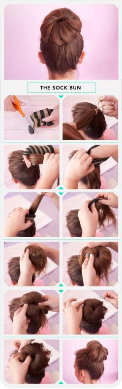 This easy breezy bun uses a sock to keep it perfectly in place all day. Great for a weekday morning.: Hairstyles, Idea, Hair Styles, Hairdos, Makeup, Socks, Sockbuns, Sock Buns