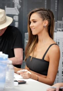 This Edgy Hair Style is Taking Over the Hair World: Jessica Alba hair, braided hair design for long hair.: Hair Ideas, Hairstyles, Hair Styles, Makeup, Jessicaalba, Jessica Alba, Side Braids
