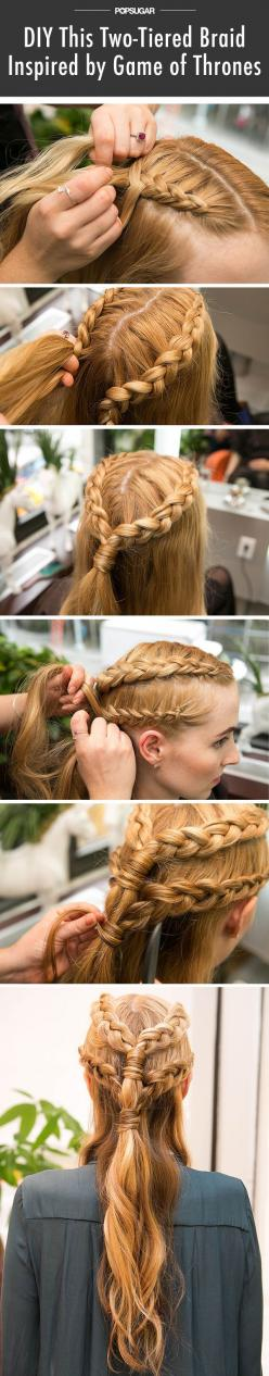 This insanely detailed Daenerys braid will wow all your Halloween party guests.: Game Of Thrones Hairstyle, Girls Hairstyle, Inside Out Braid