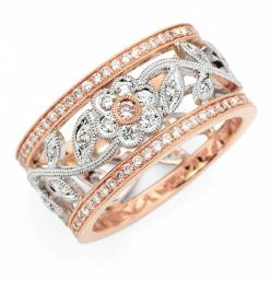 This is my actual wedding ring. Rose gold, white gold, gorgeous white diamonds, and a pink diamond at the center of the flower! By Simon G Designs: Wedding Ring, Style, Diamonds, Roses, Jewelry, Rings, White Gold, Rose Gold