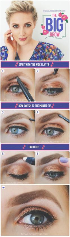 This look is for those of you who like to go big or go home!: Eye Makeup, Makeup Tips, Beauty Department, Bold Brows, Bold Eyebrows, Big Brows, Beautiful Brow