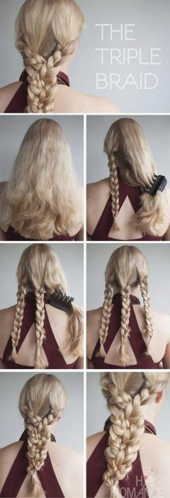 this ones kind of obvious,  but ya never know! :) a good, i'm running late type hair style: Hairstyles, Hair Styles, Hair Tutorial, Triplebraid, Braids