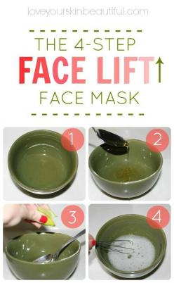 Tighten up your skin with my favorite DIY, homemade, 4-step face mask! The Instant Face Lift Soufflé: 1 egg white (tightens, lifts, and firms) 1 lemon or lime wedge, squeezed (brightens, balances) 1 spoonful of honey (moisturizes, hydrates) Directions: In