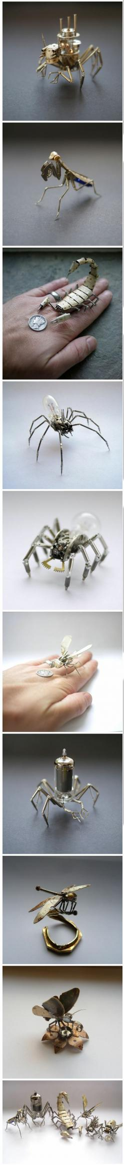 Tiny Mechanical Insects Made of Watch Parts: Mechanical Insects, Tiny Mechanical, Steam Punk, Steampunk, Watches, Design