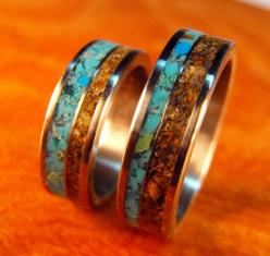 Titanium Wedding Band Set Turquoise and Tigerseye by robandlean, $275.00  @Annie Taylor: Stone Inlays, Wedding Ring, Wedding Band Sets, Titanium Wedding Bands, Weddings, Tigerseye Stone, Jewelry, Rings, Engagement Ring
