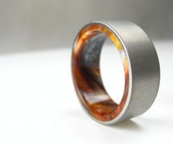 Titanium Wood Tone Burl Mens Wedding Band Iced Bronze is a must have for men [ HGNJShoppingMall.com ] #accessories: