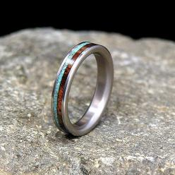 Titanium Wood Wedding Band or Ring Koa with Turquoise Inlay: Turquoise Inlay, Wood Wedding Bands, Ring Koa, Weddings, Turquoise Wedding Band, Jewelry Rings, Engagement Wedding Rings, Woods