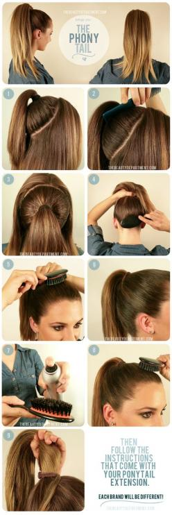 To get a fuller looking pony, gather hair at crown and wrap with hair tie, then do a second pony over it...The perfect Phony: Hairstyles, Ponytails, Make Up, Idea, Hair Styles, Phony Tail, High Ponytail, Pony Tails