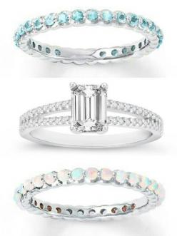 Top - promise ring, his birthstone (blue topaz, December) Middle - engagement ring (diamond, emerald cut) Bottom - wedding ring, her birthstone (opal, October): Opal And Aquamarine Ring, Opal Wedding Bands, Alternating Diamonds, Middle Wedding Ring, Gyűrű