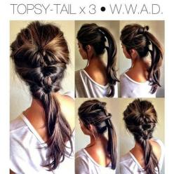 "Topsy Tail X 3. My new ""ponytail"": Hair Ideas, Pony Tail, Hairstyles, Ponytail, Hair Styles, Hairdos, Hair Do, Updo"