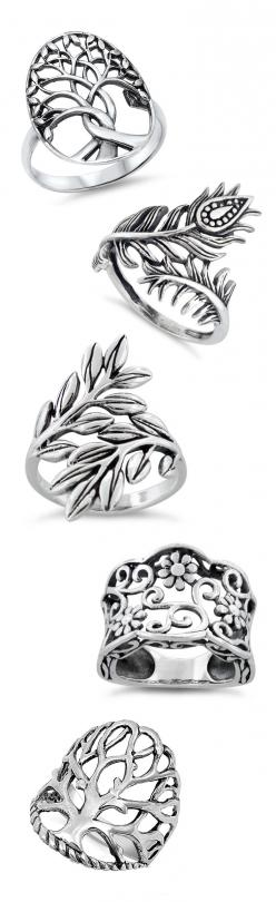 Tree of Life & Floral Rings in Sterling Silver: