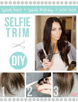 Trim your split ends without getting shorter hair. Definately gonna try this: Split Ends, Cheap Tricks, Beauty Tips, Idea, Style, Selfie Trim, Diy, Hair Trim