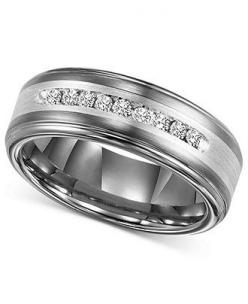 Triton Mens Diamond Ring, Tungsten Carbide and Sterling Silver Diamond Wedding Band (1/4 ct. t.w.) - Wedding & Engagement Rings - Jewelry & Watches - Macys: Diamond Wedding Bands, 1 4 Ct, Men S Diamond, Sterling Silver, Triton Men S, Tungsten Carb
