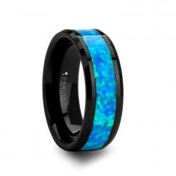 Tungsten Wedding Bands For Men And Women | weddingbandsforboth.com - QUANTUM Black Ceramic Ring with Blue Green Opal Inlay - 8 mm, $199.95 (http://weddingbandsforboth.com/quantum-black-ceramic-ring-with-blue-green-opal-inlay-8-mm/): Wedding Ring, Blue Gre
