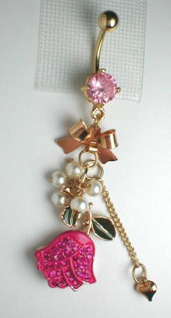 Unique Belly Ring - Pink Tulip. $13.95, via Etsy.: Belly Bar, Belly Piercings, Unique Belly Button Ring, Belly Button Rings, Unique Belly Rings, Bellybutton Rings, Bellyrings, Pink Tulip