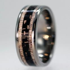 Unique Carbon Fiber ring inlaid between Deer by jewelrybyjohan, $576.00: Unique Carbon, Fiber Ring, Gift Ideas, Deer Antlers, Wedding Bands, Wedding Rings, Carbon Fiber, Jewelry Rings