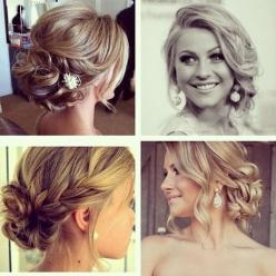 updos/hairstyles - braids and buns and sideswept bangs: Hair Ideas, Weddinghair, Hairstyles, Bridesmaid Hair, Hair Styles, Wedding Ideas, Makeup, Updos