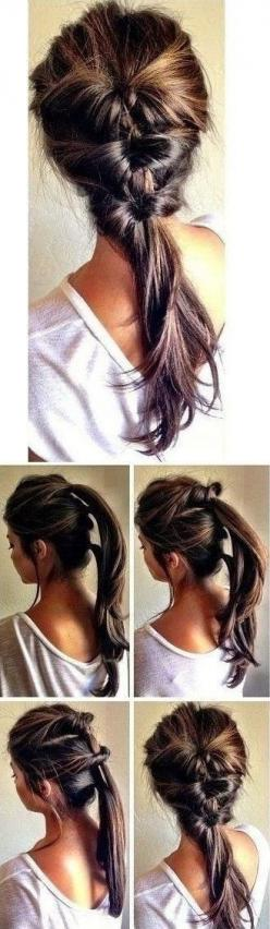 Use to do this with my hair when it was long but my steps were slights different.: Pony Tail, Hairstyles, Hairdos, Hair Styles, Hair Do, Cute Ponytail, Updo
