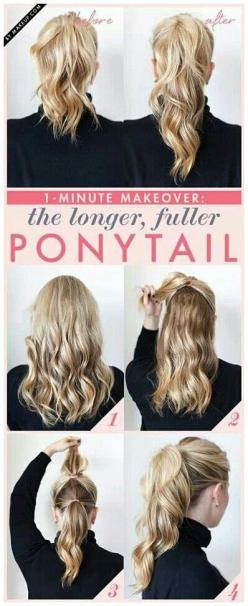 Variation of possible Vegas pony?: Hair Ideas, Fuller Ponytail, Hairstyles, Hair Styles, Makeup, Longer Ponytail, Beauty, Pony Tails, Long Ponytail