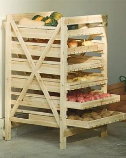 Veggie Racks are an ideal way to store your root vegetables and pumpkins or squash. They are best kept in a dark, cool part of your home however.: Garden Ideas, Orchard Rack, Pumpkin, Outdoor, Veggie Racks, Squash, Root Vegetables