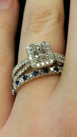Vera wang emerald cut halo setting split shank 0.95CTTW engagement ring and pave set diamond sapphire band: Dream Ring, Sapphire Engagement Ring, Wedding Rings, Sapphire Wedding Band, Vera Wang Engagement Ring, Sapphire Wedding Ring, Engagement Rings