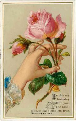 victorian #rose: Birthday Card, Birthday Gift, Birthday Greeting, Pink Rose, Vintage Rose, Birthday Poem, Vintage Cards