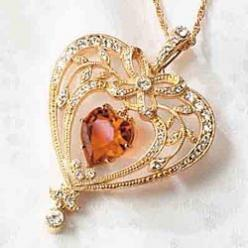 Victorian Topaz Crystal Heart Pendant...PLEASE BUY ME THIS, I WILL LOVE YOU. I love every single thing about this necklace, down to the gold, the bow, the heart, and the fact that it's MY birth stone!...jeez, I'm love.: Bling, Crystals, Victorian