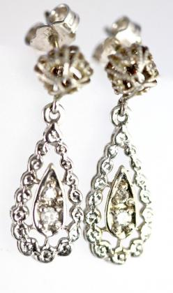 Vintage 14k White Gold Filigree & Genuine Diamond Pierced Post Earrings: Post Earrings, Gold Filigree, 14K White, Diamonds, Posts, White Gold