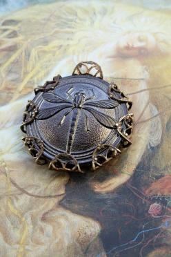 Vintage Dragonly Hematite Glass Button UPCYCLED Filigree Pendant: Dragonfly Jewelry, Button Dragonfly, Dragonfly Dress, Jewelry Buttons, All Things Dragonflies, Dragonflies Jewelry, Button Jewelry