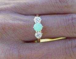 Vintage opal and diamond engagement ring. Put it on a silver band & I might have found the love of my life.: Wedding Ring, Diamond Rings, Diamonds, Jewelry, Opals, Engagement Rings