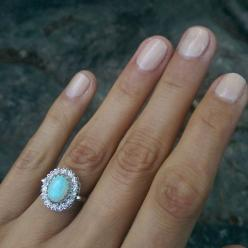 Vintage Romany 14K White Gold Opal and Diamond Halo Ring .. I'm liking the opal surrounded by diamonds: Opal Engagement Rings Vintage, Opal Rings, Opal Diamond Ring, Vintage Opal Ring, Engagement Rings Opal, Halo Rings, White Gold, Opal Diamond Engage