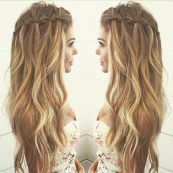 waterfall braid, highlights & waves: Hairstyles Boho, Hair Colors, Hair Styles, Hair Goals, Hairstyles Waterfall Braid, Waterfall Braids, Hairstyle Braid, Boho Braid
