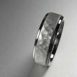Wedding band. I love the hammered metal and bevel, it hides imperfections from wear and tear.: Wedding Ideas, Men Wedding Bands, Weddings, Men'S, Mens Hammered Wedding Band, Wedding Rings, Stainless Steel