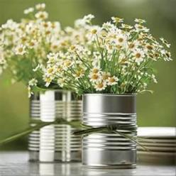 Wedding Centerpieces; would be cute for a country or outdoor themed wedding: Wedding Ideas, Simple, Weddings, Party Idea, Tin Cans, Centerpieces, Weddingideas, Flower, Center Piece