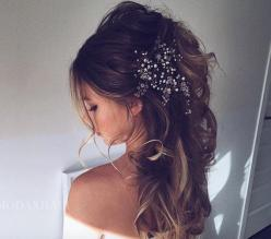 Wedding hair: Beach Wedding Hairstyles, Wedding Ideas, Weddings, Hair Style, Bride Hairstyles, Brides Hairstyles, Half Updo Wedding Hairstyles, Wedding Hairstyles Updo Messy