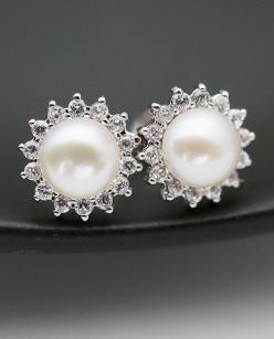 Wedding Jewelry Bridal Earrings Bridesmaid Earrings Cubic zirconia ear posts with white shell based pearl Earrings Pearl Jewelry: Jewelry Bridal, Pearl Earrings, Pearls, Jewlery, Weddings, Wedding Jewelry, Earrings Bridesmaid, Jewelry, Bridal Earrings