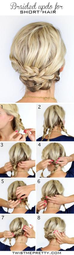 What are the 10 Biggest #Hair #Care Mistakes http://pinmakeuptips.com/what-are-the-10-biggest-hair-care-mistakes/a: Short Updo, Easy Short Hair Updo, Hairdos, Hair Do, Updos, Hairstyle, Hair Style, Short Hair Up Do, Short Hair Braid